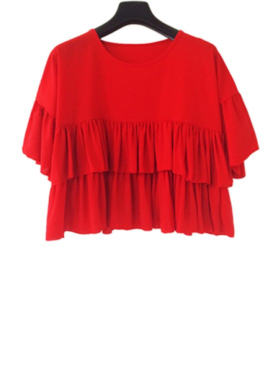shops Red Ruffles Short Sleeve Blouse - RED ONE SIZE(FIT SIZE XS TO M)