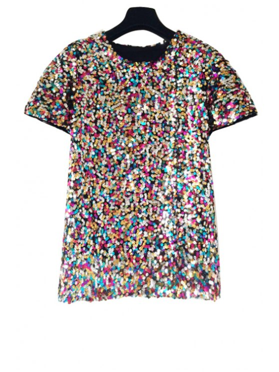 affordable Colorful Sequins Short Sleeve T-Shirt - COLORMIX ONE SIZE(FIT SIZE XS TO M)