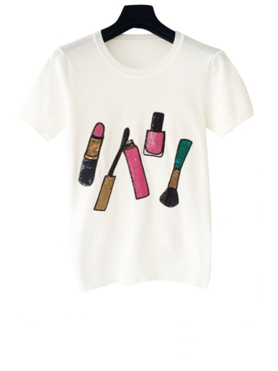 buy Lipstick Pattern Short Sleeve Knit T-Shirt - WHITE ONE SIZE(FIT SIZE XS TO M)