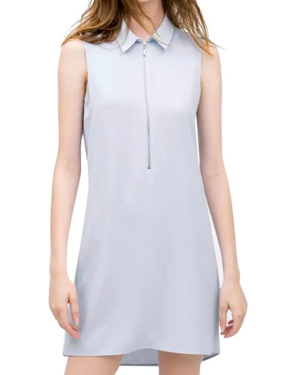 hot Turn-Down Collar Solid Color Zipper Dress - LIGHT BLUE S