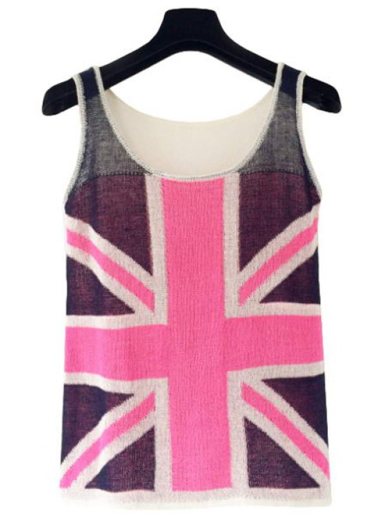 shop Union Flag Pattern Knit Tank Top - ROSE ONE SIZE(FIT SIZE XS TO M)