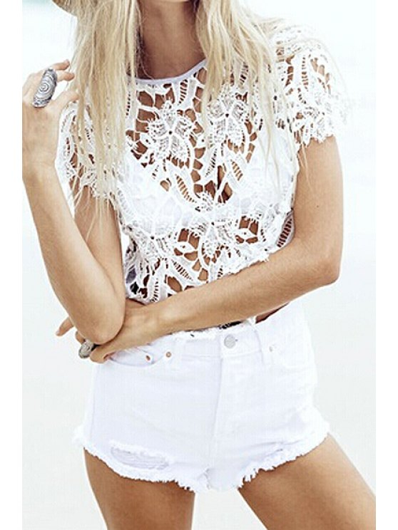 sale Floral Pattern Lace See-Through T-Shirt - WHITE ONE SIZE(FIT SIZE XS TO M)
