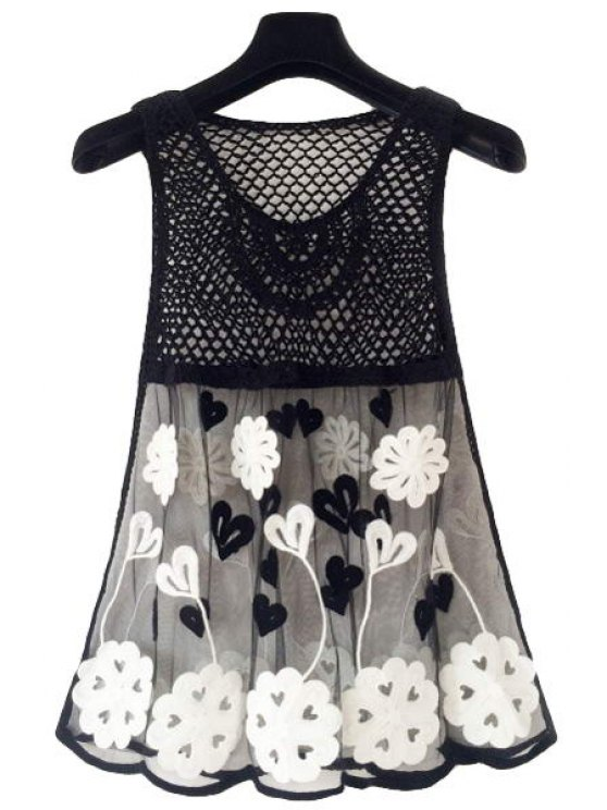latest Crochet Spliced Hollow Tank Top - BLACK ONE SIZE(FIT SIZE XS TO M)