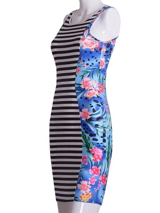 women Floral Print Splicing Stripe Sleeveless Dress - COLORMIX XL