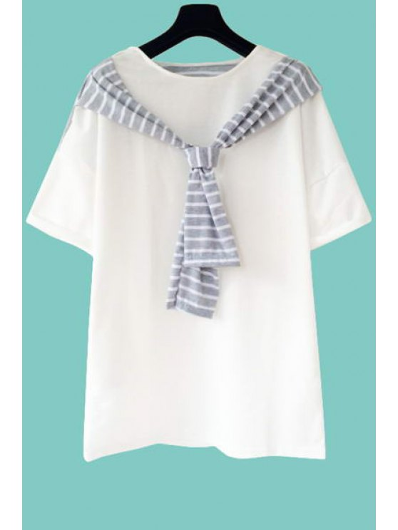best Stripe Spliced Short Sleeve T-Shirt - WHITE ONE SIZE(FIT SIZE XS TO M)