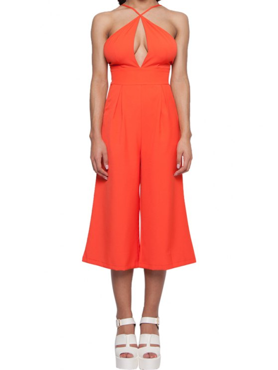 affordable Solid Color Spaghetti Strap Wide Leg Jumpsuit - ORANGE S