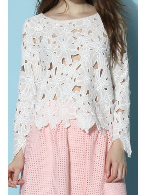 chic White Hollow Long Sleeve Blouse - WHITE S