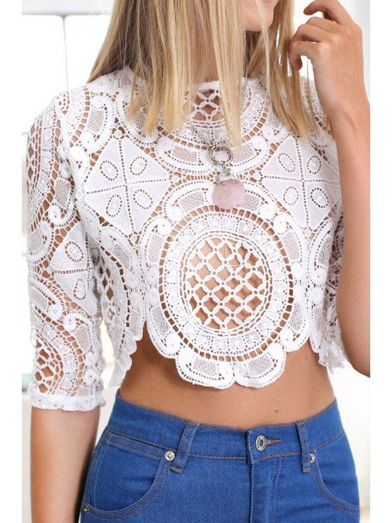 sale Half Sleeve White Lace Blouse - WHITE S