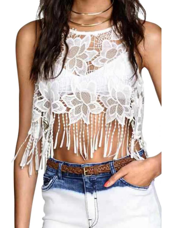 sale White Lace Tassels Crop Top - WHITE S