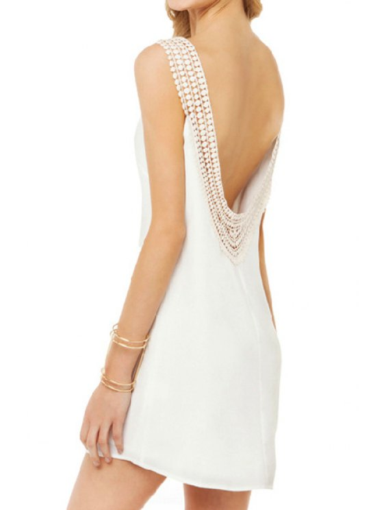 outfit Lace Splicing Backless Sleeveless Dress - WHITE M