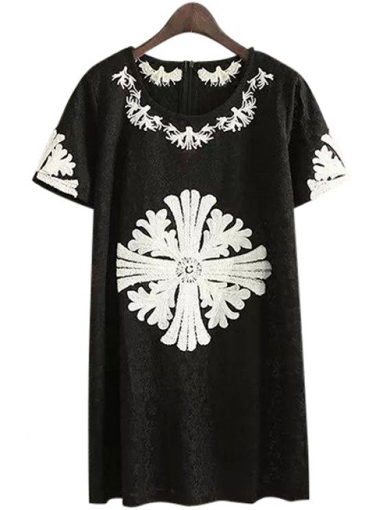 buy Short Sleeve Flower Print Zippered Dress - BLACK S