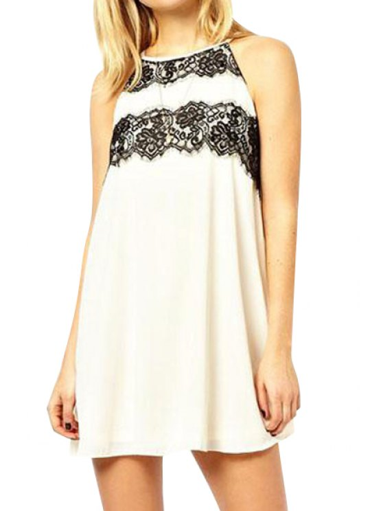 sale Black Lace Splicing Backless Sleeveless Dress - WHITE XL