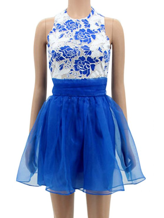 hot Floral Spliced Sleeveless A-Line Dress - BLUE S