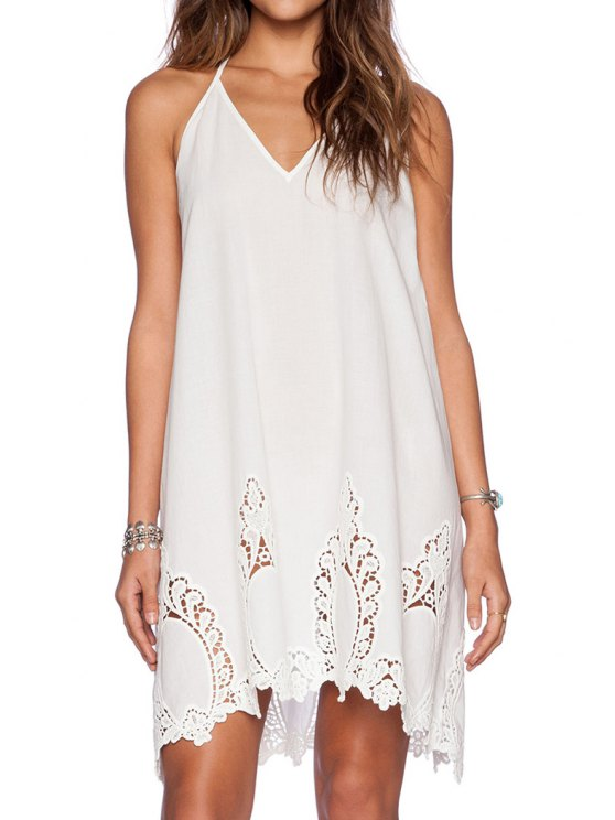 women's Spaghetti Strap Backless Openwork Solid Color Dress - WHITE M