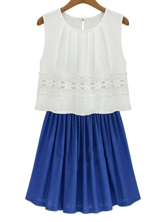 latest Color Block Spliced Sundress - BLUE AND WHITE M