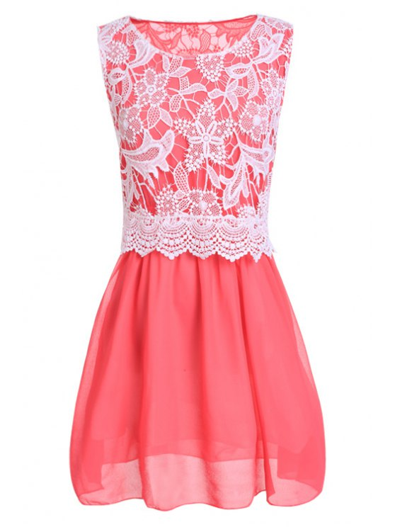 lady Scoop Neck with Lace Sundress - RED S