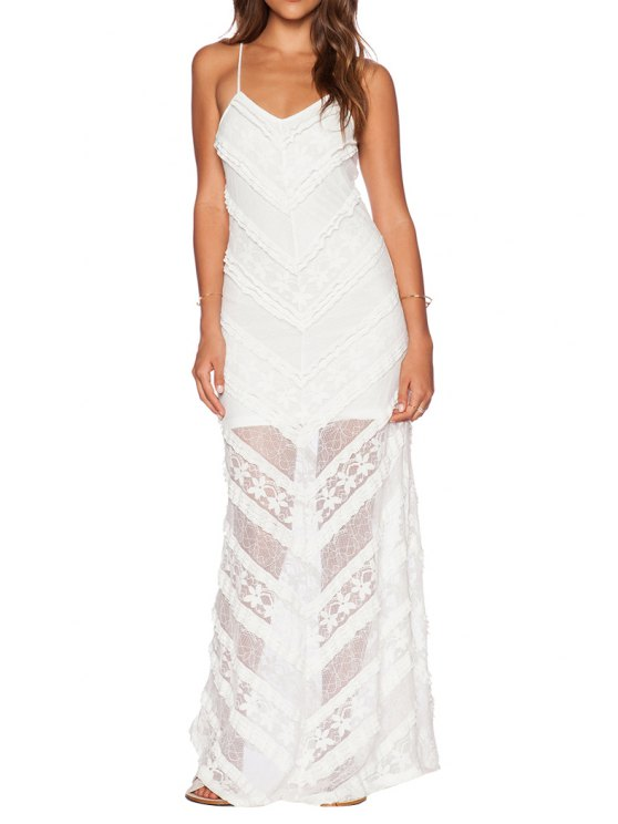 new Solid Color Backless See-Through Maxi Dress - WHITE M