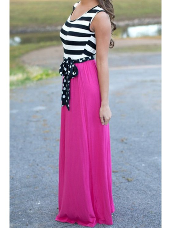 affordable Scoop Neck Stripe  Tie-Up Splicing Maxi Dress - PINK S