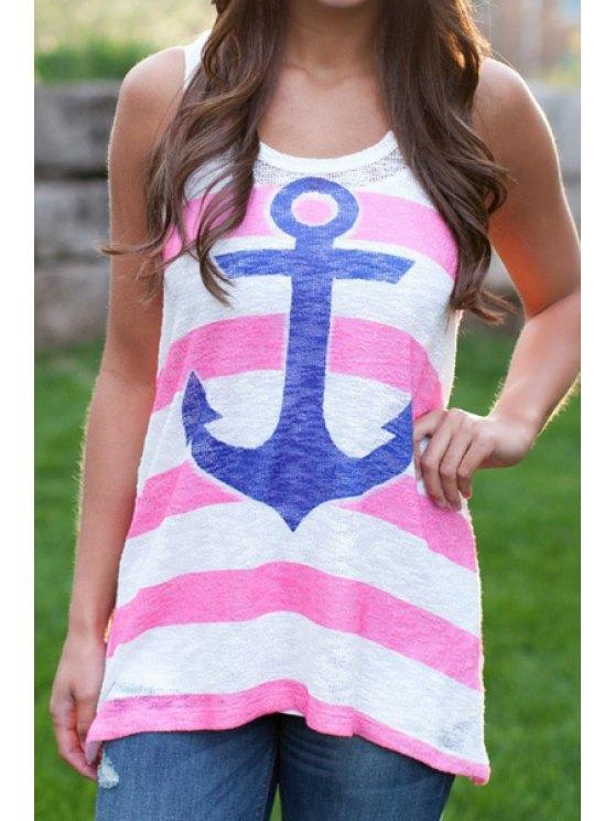 sale Anchor Print Stripe Tank Top - PINK S