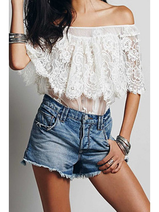 outfits White Lace Slash Neck Blouse - WHITE S