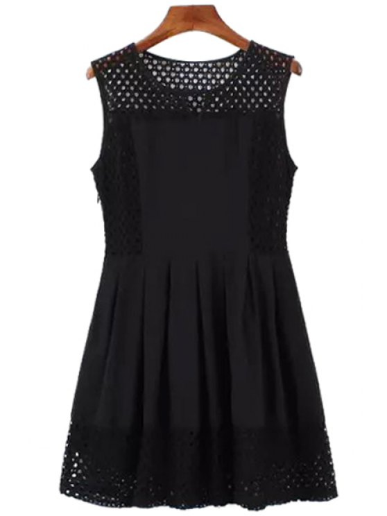outfits Sleeveless Lace Splicing Hollow Black Dress - BLACK S
