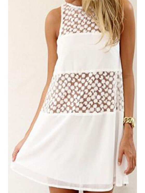 latest Floral Embroidery Spliced Sleeveless Dress - WHITE XL