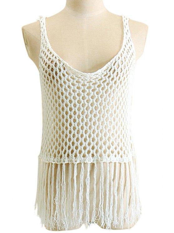 online Openwork Fringe Crochet Tank Top - WHITE S