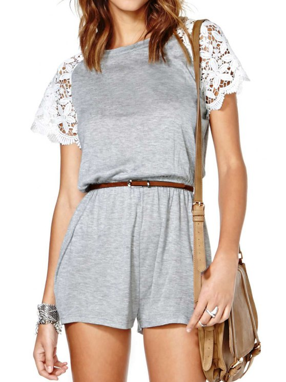 ladies Lace Splicing Short SleeveS Romper - GRAY S