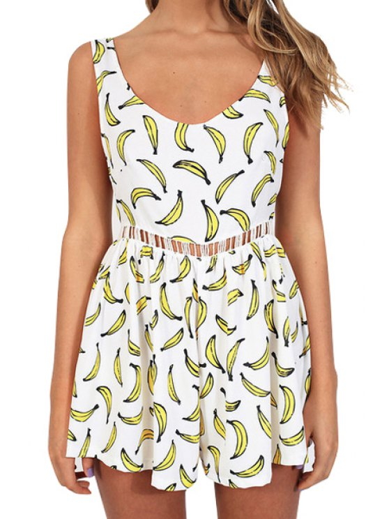 women's Banana Print Backless Sundress - YELLOW S