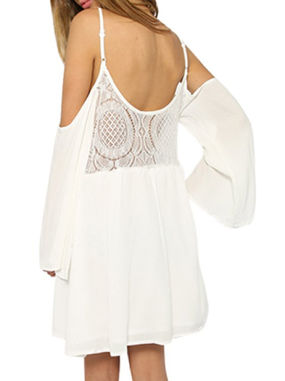 sale Cut Out Spaghetti Straps Long Sleeve Dress - WHITE S