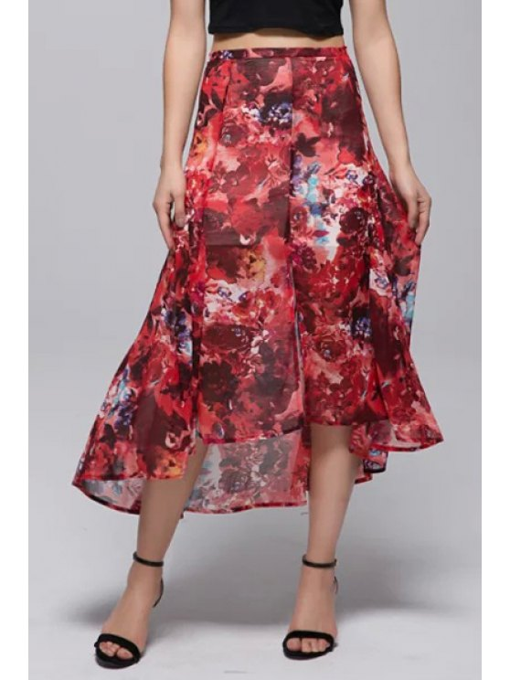 outfit Red Print High Waisted High Low Skirt - RED 34