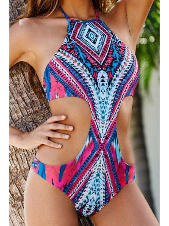 ladies Halter Neck Tie-Up Argyle Print Swimwear - COLORMIX S