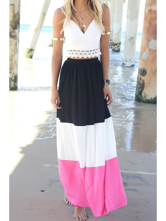 chic Spaghetti Strap Crop Top and Color Block Skirt Suit - BLACK AND WHITE AND RED S