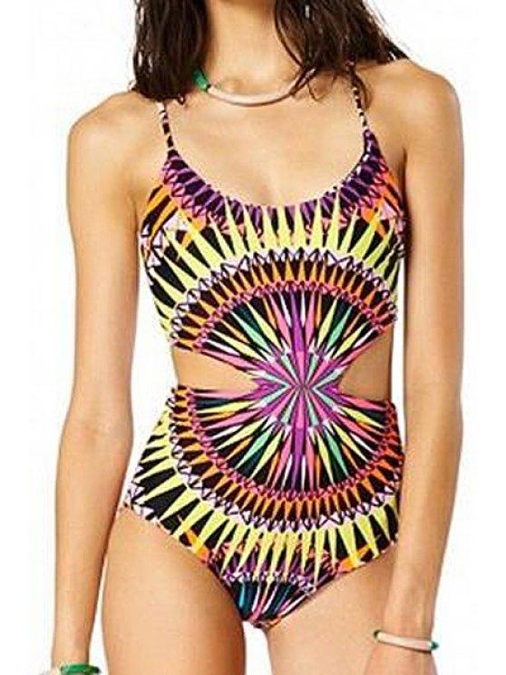 women's Spaghetti Strap Cross Tie-Up Color Block Stripe Swimwear - COLORMIX S