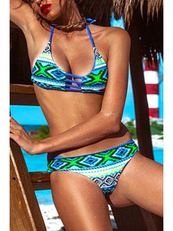 fashion Halter Neck Blue Green Argyle Print Bikini Set - COLORMIX S