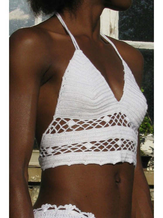 women Crochet Solid Color Halterneck Crop Top - WHITE ONE SIZE(FIT SIZE XS TO M)