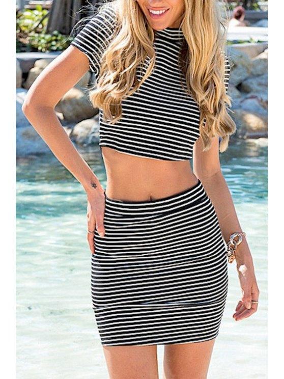 women Stand-Up Collar Stripe Back Zipper Splicing Dress - GRAY S