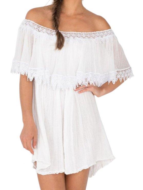 sale Slash Neck A-Line Ruffled Lace Spliced Dress - WHITE S