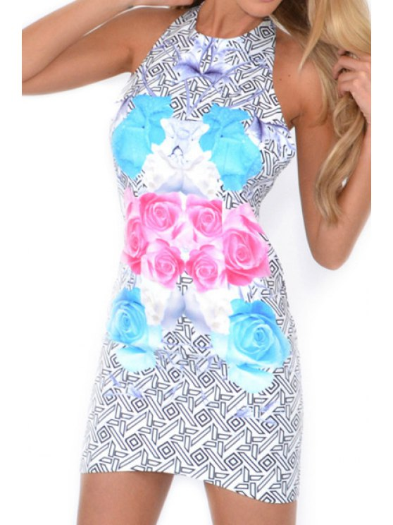 shop Geometric Floral Print Backless Sleeveless Dress - LIGHT BLUE S