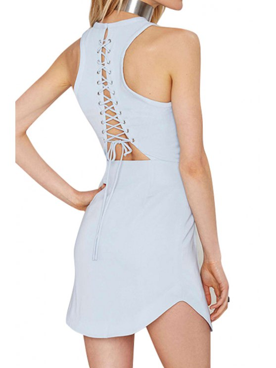 ladies Solid Color Backless Tie-Up Sleeveless Dress - BLUE S