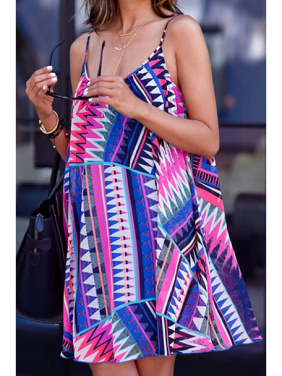buy Spaghetti Strap Color Block Triangle Pattern Dress - AS THE PICTURE S