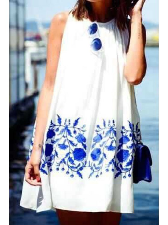 women Sleeveless Blue Floral Print Dress - BLUE AND WHITE S