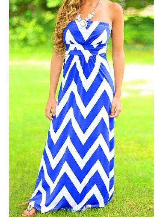 hot Strapless Blue White Zig Zag Maxi Dress - BLUE S