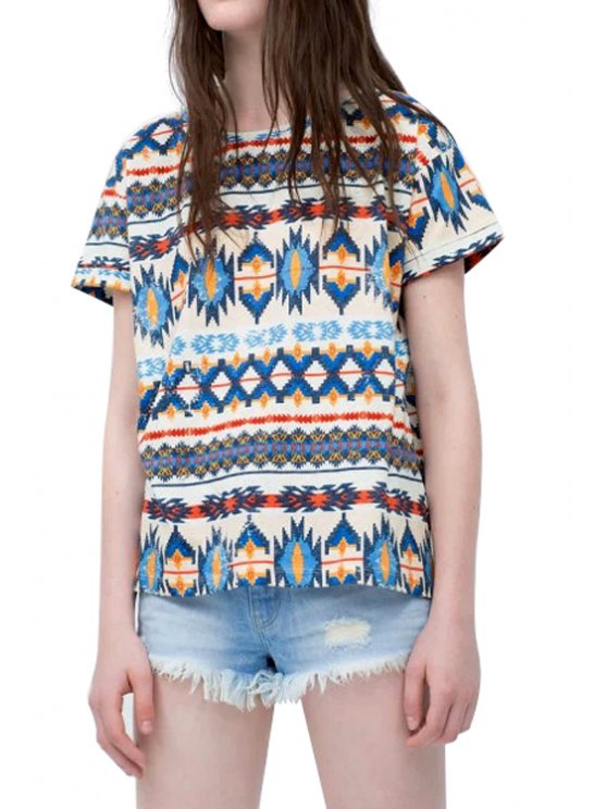 latest Ethnic Print Short Sleeves T-Shirt - COLORMIX S