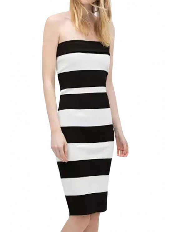 fashion Strapless Stripe Back Zipper Sleeveless Dress - STRIPE S