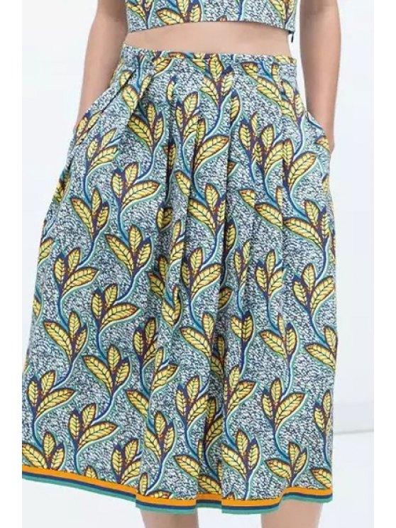 fashion Full Leaf Print High Waisted Skirt - COLORMIX S