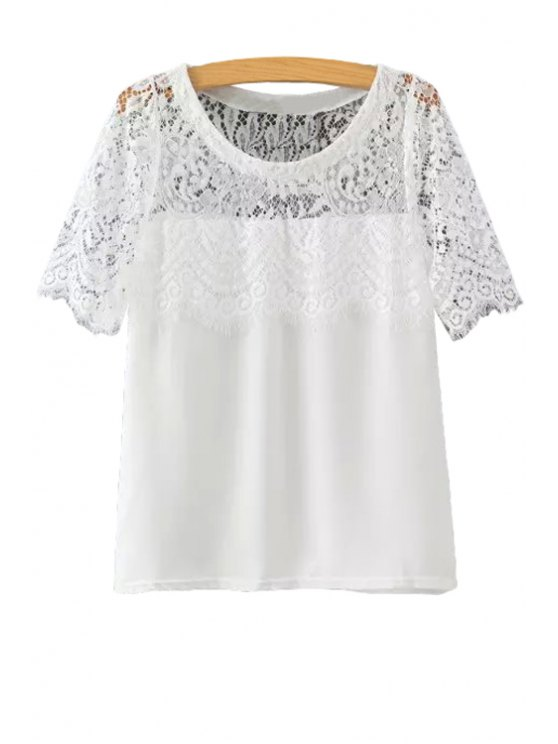 chic Short Sleeve Lace Spliced T-Shirt - WHITE S