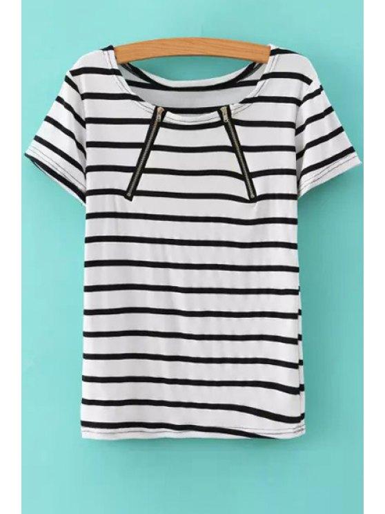 affordable Stripes Short Sleeve Zipper T-Shirt - WHITE S