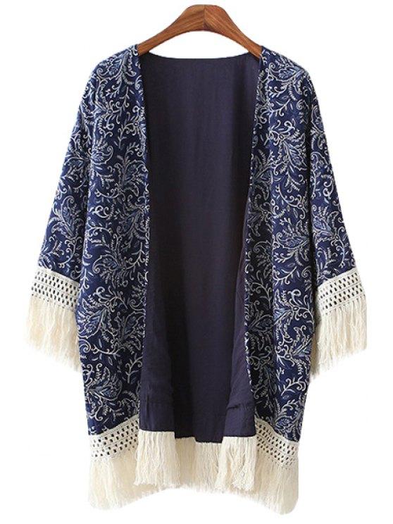 trendy Full Leaf 3/4 Sleeve Tassels Kimono - BLUE S