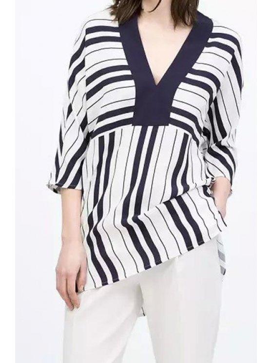 buy Stripe Spliced 3/4 Sleeve Blouse - STRIPE S